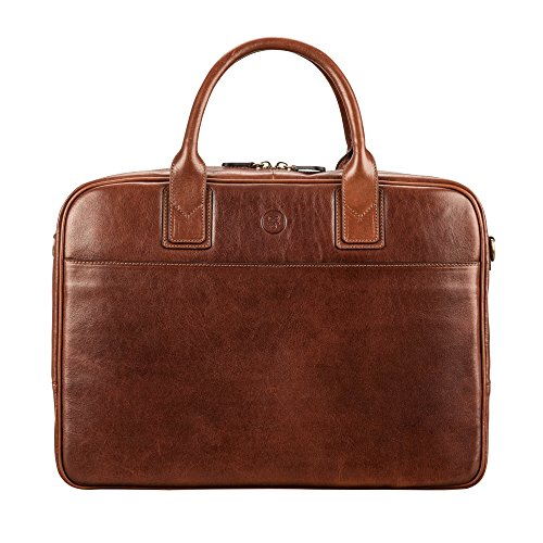 Maxwell Scott Men's Italian Leather Work Laptop Bag - Calvino Tan