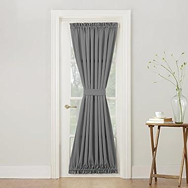Sun Zero Barrow Energy Efficient Door Panel Curtain with Tie Back,Gray,