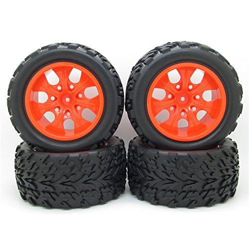 JIUWU 118mm RC 1/10 Monster Car Truck Bigfoot Tyre Rubber Tires & 12mm Red HEX Wheel Rim Hub HSP Pack of 4