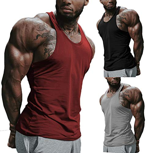 Herren Gym Muscle Weste Solid Color Sleeveless T-Shirts Low Cut Bodybuilding Tank Top Fitness Übung Laufen Outfit Tops S-XL (M, schwarz)