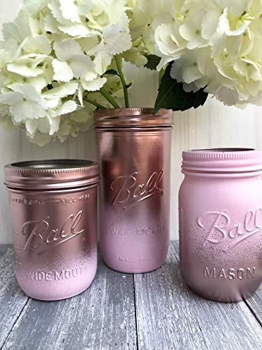 Rose Gold and Blush Pink Painted Glass Mason Jar Centerpiece Set Rustic Bridal Shower Decor