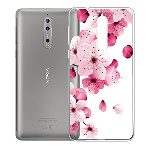 """Custodia per Nokia 8 , IJIA Trasparente Rosa Fiore Di Pesco TPU Silicone Morbido Protettivo Coperchio Skin Custodia Bumper Protettiva Case Cover per Nokia 8 (5.3"""")"""