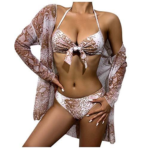 ZYZS Traje de baño sexy para mujer, estampado de animales, manga larga, protección solar caqui XL