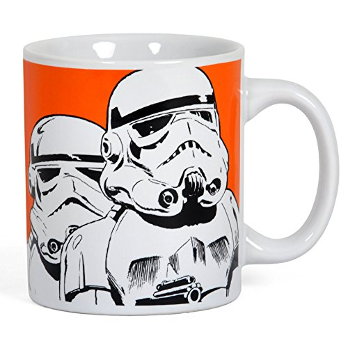 Elbenwald Star Wars SW31 Stormtrooper Tasse Keramik mit 2 Motiven 300ml orange