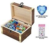Juguetes de gemas/diamantes para niños con cofre del tesoro de madera antigua (70piezas gemas de hielo y 10piezas de diamantes) para cumpleaños/Navidad/Regalos de Pascua/juego de rol/juego pirata