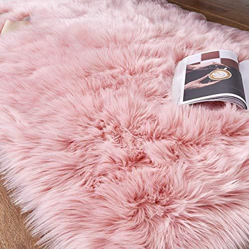 HEQUN Faux Lammfell Schaffell Teppich, Kunstfell Dekofell Lammfellimitat Teppich Longhair Fell Nachahmung Wolle Bettvorleger Sofa Matte (Rosa, 75 X120 cm)