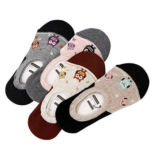 WANGWO Damen Frau Mädchen 6 Paar Füßlinge No-Show Liner Unsichtbare Invisible Non-slip Socken Baumwollen Belüftet Eule