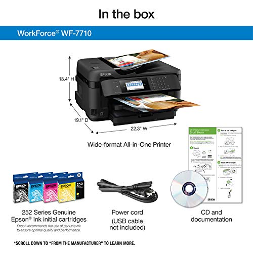 WorkForce WF-7710 Wireless Wide-format Color Inkjet Printer with Copy, Scan, Fax, Wi-Fi Direct and Ethernet, Amazon Dash Replenishment Ready Photo #6
