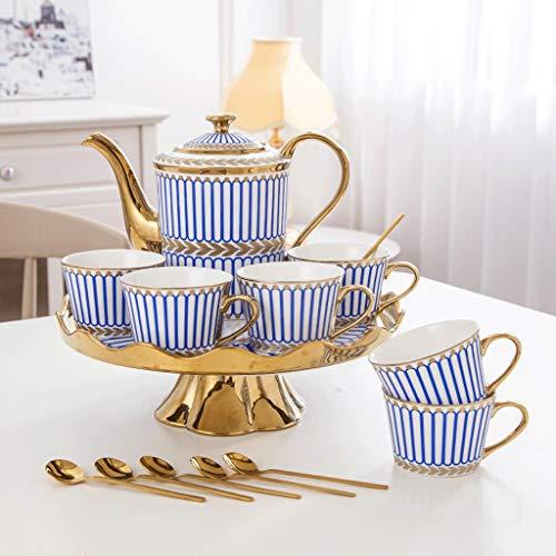 SSHDX Tazas de café de cerámica y pote Sistema de la Olla Tazas de té de la Leche de Desayuno con la Bandeja giratoria Webware 8 Piezas Regalos de Boda ecológicos (Color : Blue)