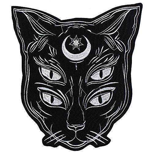 EMDOMO - Toppa da applicare con ferro da stiro, motivo gatto nero, per lavori fai da te e fai da te per giacca punk, retro badge, scrapbooking, cucito decorato, 1 pezzo