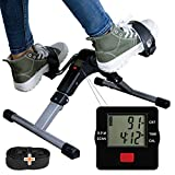 TABEKE Pedal Exerciser, Sitting Pedal Exerciser for Arm/Leg Workout, Portable Exercise Peddler with LCD Display