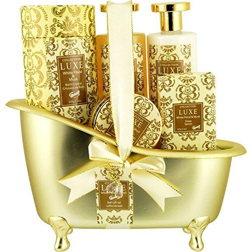Coffret cadeau pour femme - Baignoire de Bain dorée incluant une lotion corporelle - Collection Luxe - Fleurs blanches/Muscs