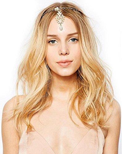 GuDeKe Hermosa Mujer de Cristal Diadema de Perlas Cadena de Venda de la Horquilla del Peine