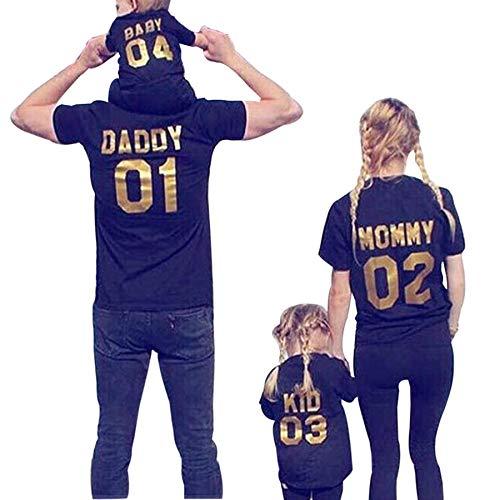 Ansenesna Familien Outfit Mutter Vater Kind Kleidung Freizeit Baumwolle Kurzarm Outfits Eltern Kind Familien Matching T-Shirts Tops Schwarz (Mutter, S)