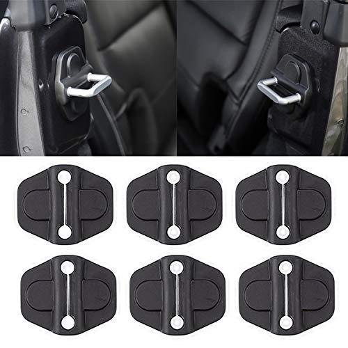 YOCTM Door Lock Decoration Cover for 2018 2019 2020 2021 2022 Jeep Wrangler JL JLU Unlimited Sahara Sports Rubicon Gladiator JT Door Lock Cover Sticker Parts Accessories Black (4Door) (Pack of 6)