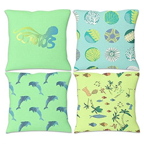 Lymnaraa Juego de 4 fundas de almohada de lino para decoración de sala de estar, sofá, silla, 45,7 x 45,7 cm, color blanco