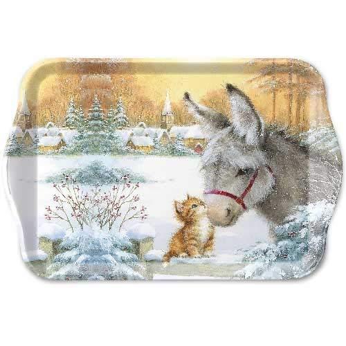 Ambiente Kerst Lade Ezel en Kitten Individuele Een Beker Thee Lade 21 x 13 Centimeter