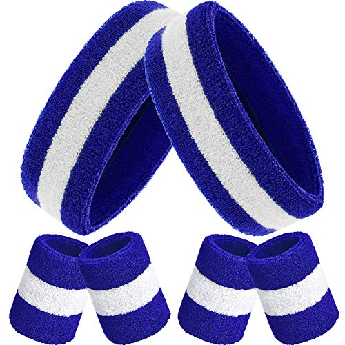 Fasce da Polso, Include Polsino di Sport e Braccialetti Polsino Cotone a Strisce Fascia da Polso Set per Uomini e Donne (Blu Bianco e Blu, 6 Pezzi)