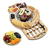 SMIRLY Cheese Board and Knife Set - Large Round Charcuterie Board Set, Bamboo Cheese Board Set, Cheese Platter Board, Cheese Tray Set, Wooden Cheese Board, Cheese Cutting Board Set, Cheese Plate Set