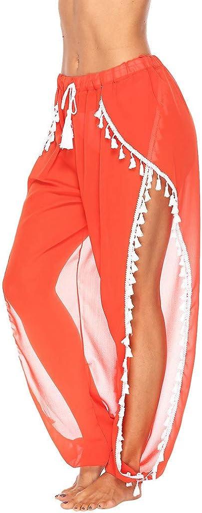 RISTHY Pantalones Profesionales de Yoga con Aberturas Laterales Flecos Sueltos Cintura Alta Mujer Pantalones de Playa Largos Deportivos Suaves y C/ómodos para Vacaciones