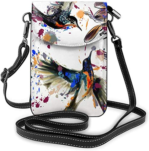 NA Handytasche Kleine Umhängetaschen Kunst Mit Lilie Blumen Vögeln Und Farbspritzer Brieftasche Taschen Mit Verstellbaren Schultergurt Frauen