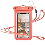 YOSH Funda Impermeable Móvil IPX8 Universal, Bolsa para Móvil Estanca a Prueba de Agua para iPhone 12 Pro Mini 11 XR X 8 7 6 Samsung S21 A51 A71 Xiaomi MI 9T Poco X3 RedMi Note 9 hasta 6.8'' (Naranja)