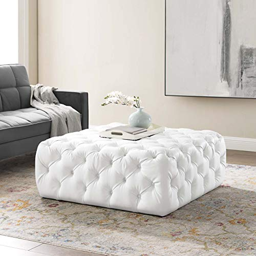 Modway Amour Tufted Vegan Leather Large Upholstered Ottoman in White, Square