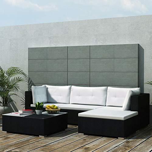 Irfora Gartenmöbel Sofa Gartencouch 5-TLG. Garten Lounge Set mit Auflagen Poly Rattan Schwarz