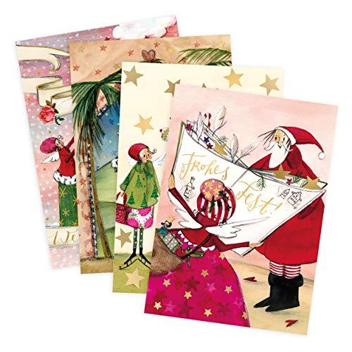 Set Di 4 Biglietti Di Auguri Per Natale, Presepe, Stella Di Natale, Angelo, Babbo Natale, Neutro, Bambino, Ragazza, Bianco, Carta Per Natale, DIN A6