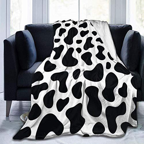 Manta de forro polar de franela con estampado de vaca, mullida y acogedora manta de forro polar, cálida y gruesa, suave para invierno para niños y adultos, individual de 50 x 40 pulgadas