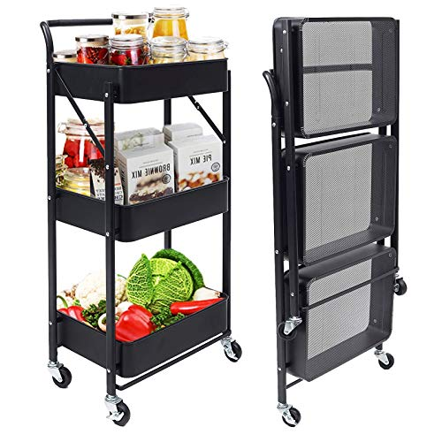 3 Tier Rolling Foldable Utility Cart with Handle and Roller Wheels Free Installation with Metal Storage Mesh Basket and Easy Assembly for Bathroom, Kitchen, Office, Black