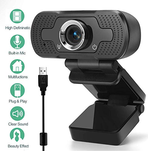 ONLYO Webcam 1080p Videokamera mit Mikrofon, PC Laptop Desktop Webkamera Plug & Play USB Webcam für YouTube, Skype, Zoom, Xbox One Videoanruf, Lernen und Konferenz