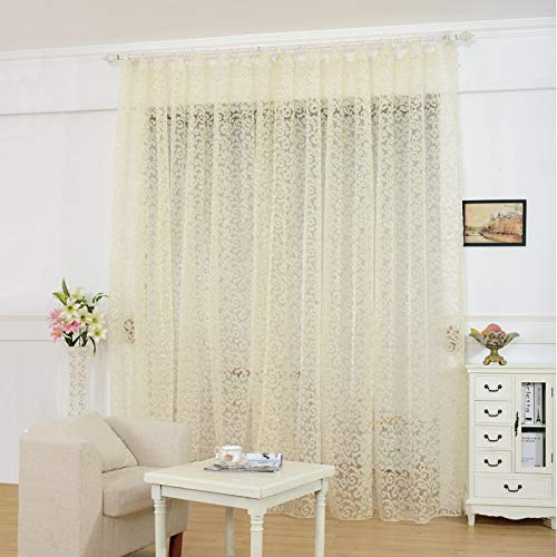 NAPEARL Pretty Jacquard Sheer Curtains 96 Inches Long, Pencil Pleat Light Filtering Sheer Curtains, Set of 2 Patterned Voile Curtains ( Each 52 x 96 Inch, Lighe Yellow )
