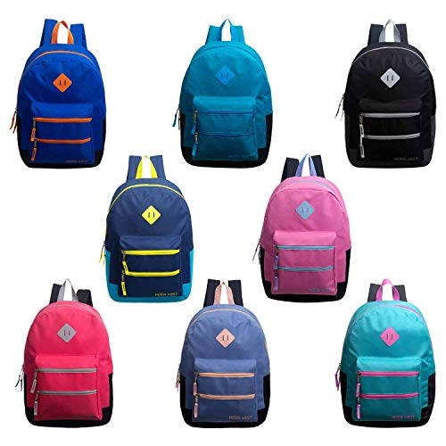 24 Pack - 17' Bulk Backpacks with Dual Front Zipper Pocket (8 Assorted Colors) - Wholesale Case of 24 Bookbags