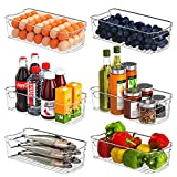 CHEF EVER Fridge Organizer Bins, Set of 6 Clear Stackable Refrigerator Pantry Container with Handles for Freezer Drawers Countertops Cabinets Plastic Food Storage Rack