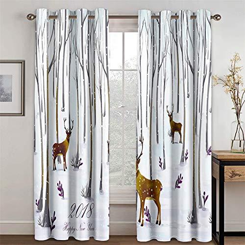YUNSW Cortinas Decorativas Blancas con Diseño De Animales Simples para Sala De Estar Y Dormitorio, Cortinas De Aislamiento Térmico Opacas, Juego De 2 Piezas