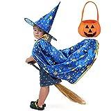 AtRenty Capa de mago con sombrero, bolsillo de calabaza para niños, disfraz de cosplay, abrigo de bruja, estrella, sombrero mágico, para 3 – 12 niños pequeños niños pequeños niños / niñas (magia azul)