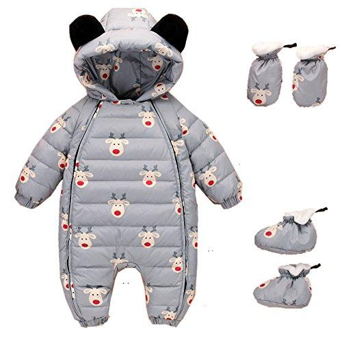 Bom Bom Baby Jungen Mädchen Schneeanzug Overall Winter Baby Kleidung mit Schuhe und Handschuhe (grau,3-6m)