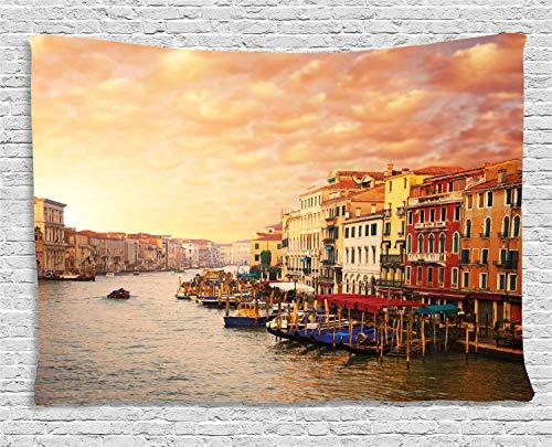 ABAKUHAUS Paisaje Tapiz de Pared, Imagen İtaliana De Venezia, para el Dormitorio Apto Lavadora y Secadora Estampado Digital, 200 x 150 cm, Multicolor