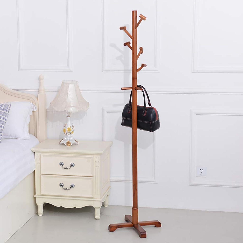 Solid Wood Coat Rack Floor Hanger Bedroom Clothes Rack Simple Hanger Household hat Rack Hanger (color   A)