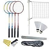 Badminton Set, 4 Pcs Outdoor Badminton Rackets with Badminton Net, 2 Shuttlecocks, Sports