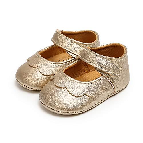 MASOCIO Baby Krabbelschuhe Lauflernschuhe Mädchen Kleinkind Rutschfesten Lederpuschen Babyschuhe Golden 6-12 Monate