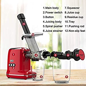 Juicer Machines, ORFELD Cold Press Juicer with 95% Juice Yield & Purest Juice, Easy Cleaning & Quiet Motor Masticating… |