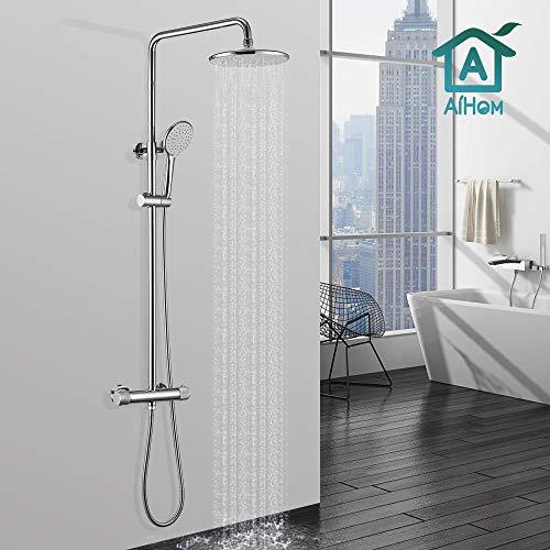AiHom Duschsystem Thermostat mit 40℃ Sicherheitssperre Regendusche Duschset für Badezimmer Inkl. Kopfbrause Handbrause Duschstange Armatur Schlauch Duschhalterung chrom