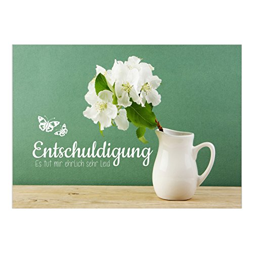 Große DIN A5 Karte mit Umschlag/Blumenstrauß vor Grüner Wand/Sorry / Entschuldigung/Verzeih mir/Entschuldigen