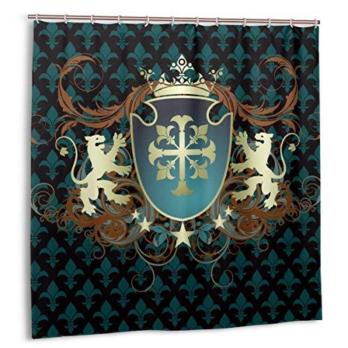 Blived Cortina de baño,Impermeable,Diseño heráldico de la Edad Media Escudo de Armas Leones de Corona y remolinos,Cortina de Ducha de con Ganchos 150cmx180cm