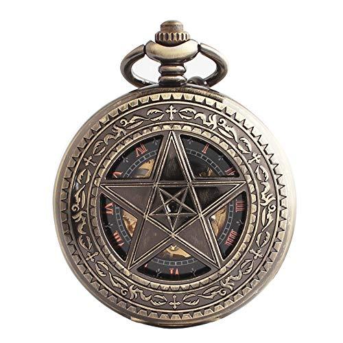 XLORDX Taschenuhr Herren Retro Bronze Openwork Handaufzug mechanische mit Bronze Kette Skelett Uhr graviert Stern