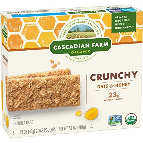 Cascadian Farm Organic Crunchy Granola Bar non-GMO Oats and Honey 10 Bars In 5 - 1.42 oz 2-Bar Pouches