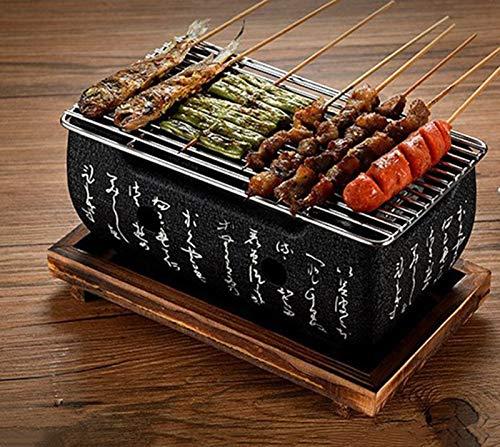 CTEJ Tischgrill Holzkohle Japanischer Grill, Mini BBQ Grill, Japanischer Stil BBQ Grill, BBQ Platte, Tragbarer Kocher Herd,Schwarz