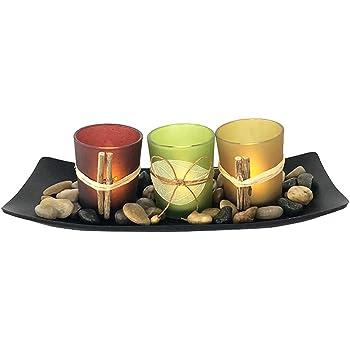 Juego de 3 Candelabros Decorativos de Candelita con Rocas y Bandeja, Decoración de Mesa de Café,
